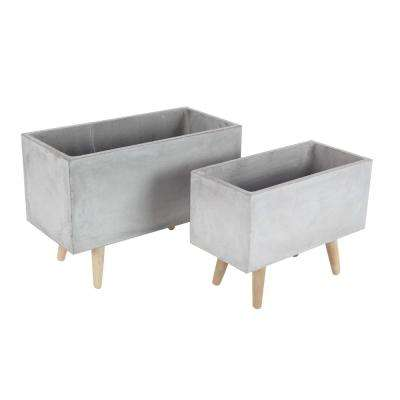 Large: 21 in., Small: 17 in. Gray Fiber Clay Planters (2-Pack)