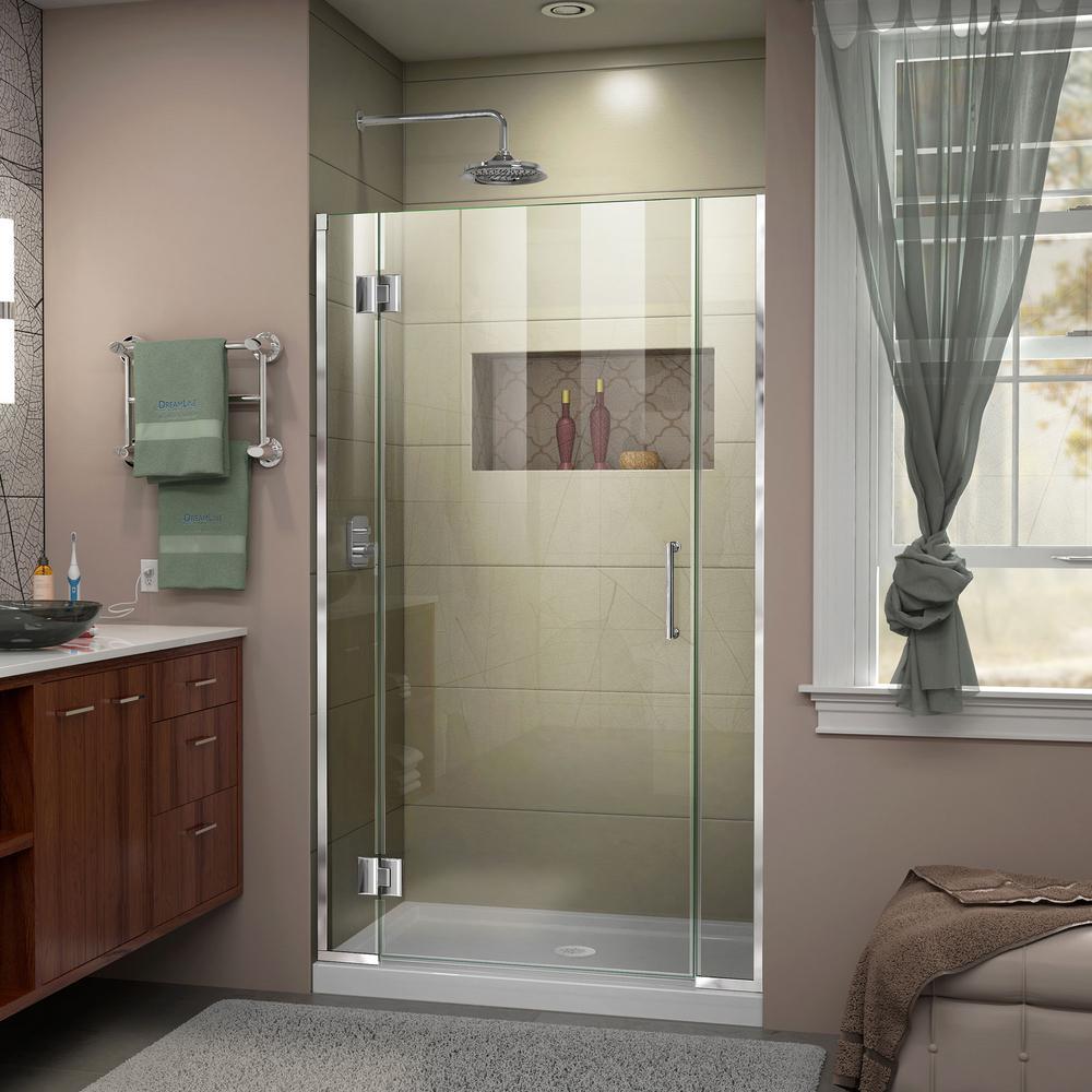 Unidoor-X 42.5 to 43 in. x 72 in. Frameless Hinged Shower Door in Chrome