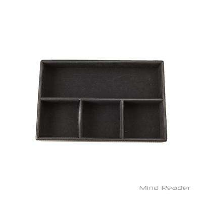Faux Leather 4-Compartment Tray Desk Organizer, Black