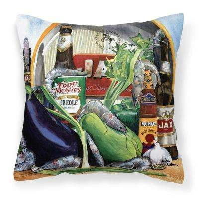 14 in. x 14 in. Multi-Color Lumbar Outdoor Throw Pillow Eggplant and New Orleans Beers Decorative Canvas Fabric Pillow
