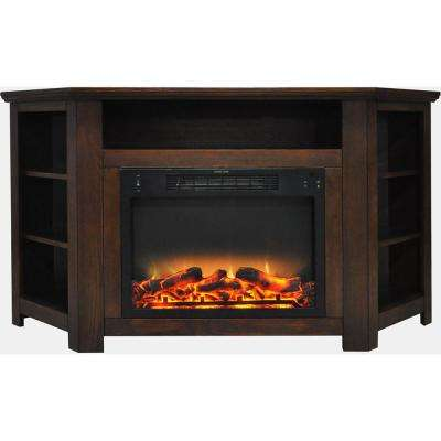 Tyler Park 56 in. Electric Corner Fireplace in Walnut with Enhanced Fireplace Display