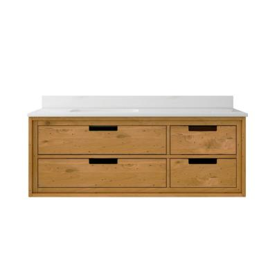 Vinespring 48 in.Wx22 in.D Single Wall Hung Bath Vanity in Wood Tone with Marble Vanity Top in White with White Sink