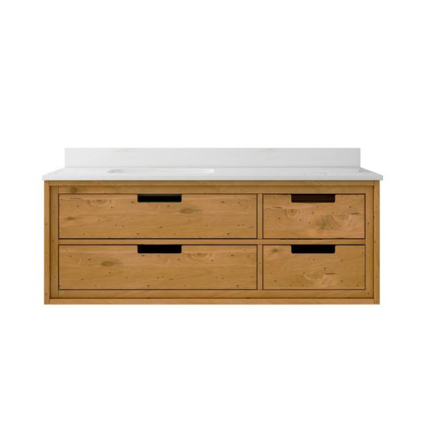 Home Decorators Collection - Vinespring 48 in.Wx22 in.D Single Wall Hung Bath Vanity in Wood Tone with Marble Vanity Top in White with White Sink