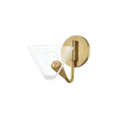 Isabella 1-Light Aged Brass Wall Sconce with Clear Shade
