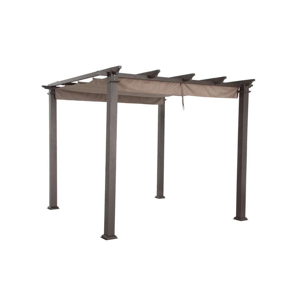 Hampton Bay 9-1/2 ft. x 9-1/2 ft. Steel Pergola with Canopy