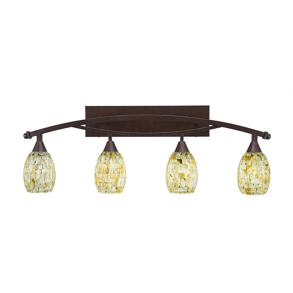 4-Light 20 in. Bronze Vanity Light with 5 in. Ivory Glaze Seashell Glass