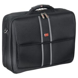 17 inch Double Compartment Black Laptop/Tablet Briefcase with RFID Secure Pocket by