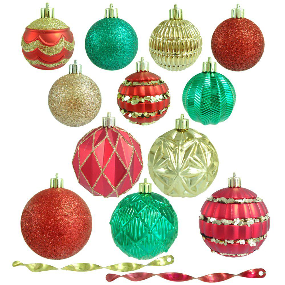 red green and gold shatterproof christmas ornament assortment