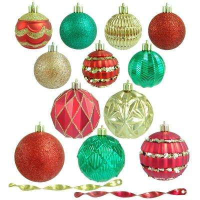 red green and gold shatterproof christmas ornament assortment 100 pack - Christmas Tree And Decorations