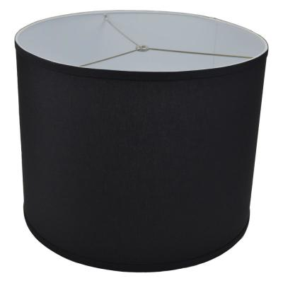 Fenchel Shades 18 in. Top Diameter x 18 in. Bottom Diameter x 14 in. Height Drum Lamp Shade - Linen Black