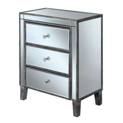 Gold Coast Weathered Gray Large 3-Drawer Mirrored End Table