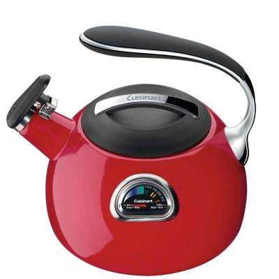PerfecTemp 12-Cup Stovetop Tea Kettle in Red