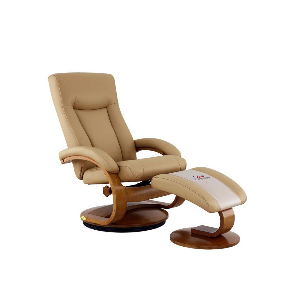 Relax-R Relax-R Hamilton Cobblestone Top Grain Leather Recliner with Ottoman
