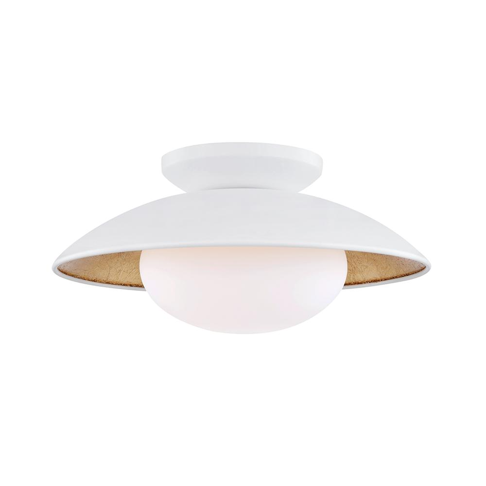 Mitzi By Hudson Valley Lighting Cadence 6 75 In 1 Light White Ro Gold Leaf Semi Flush Mount With Opal Matte Shade