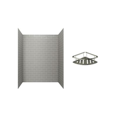 Passage 60 in. x 72 in. 2-Piece Glue-Up Alcove Shower Wall with Corner Shelf in Gray Subway Tile