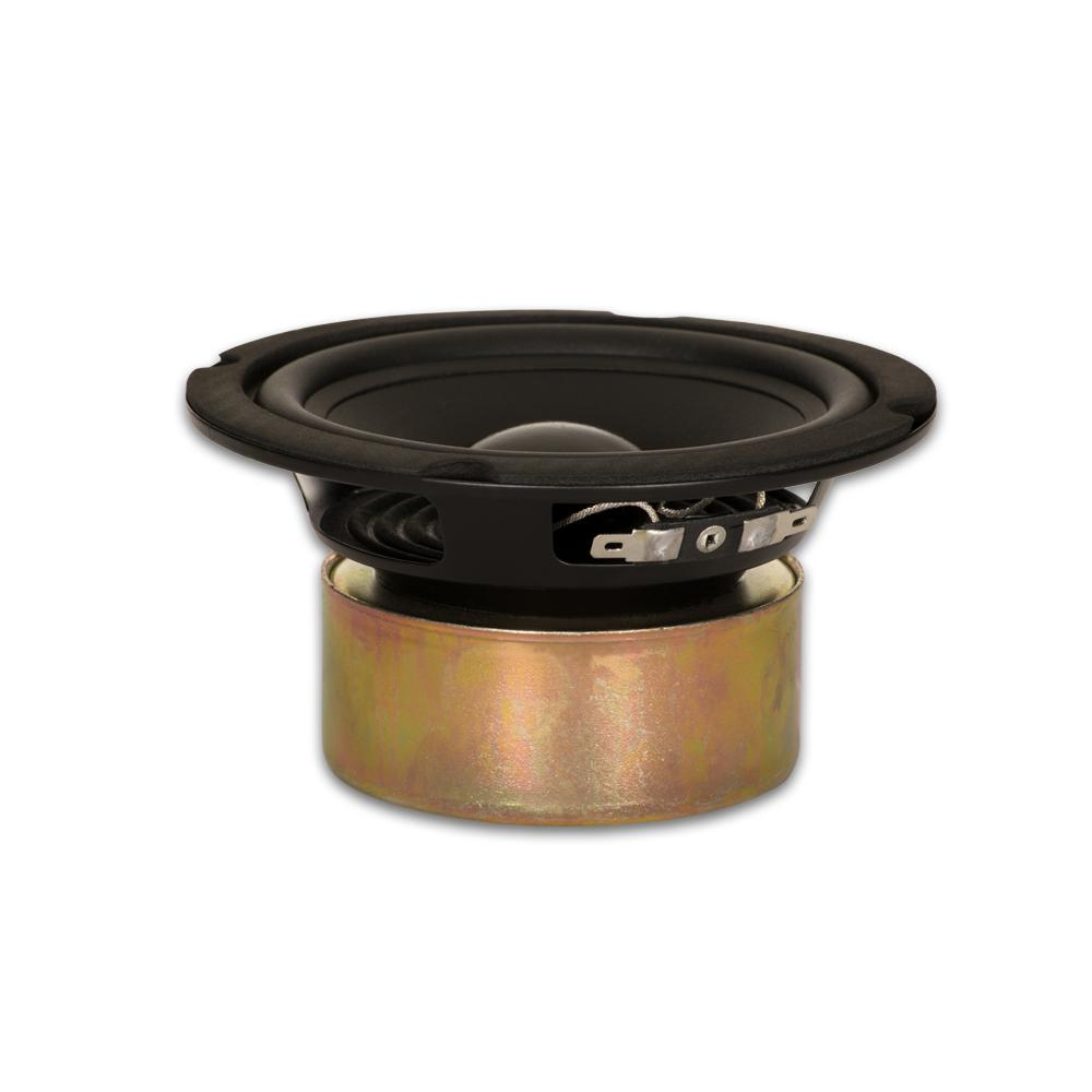 Shielded 5.25 in. Woofer 130-Watt 8 ohm Replacement Speaker This Goldwood Sound 8 ohm 5.25 in. driver has a maximum wattage of 130-Watt and is designed and engineered right here. This woofer features a 16 oz. shielded magnet with rubber surround and poly mica cone. This woofer is a high end, pro audio transducer optimized for all musical instrument, DJ, car audio and professional applications.