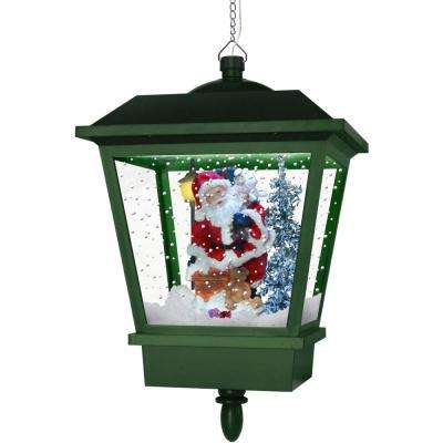 18 in. Hanging Musical Lantern in Green Featuring Santa Scene and Snow Function