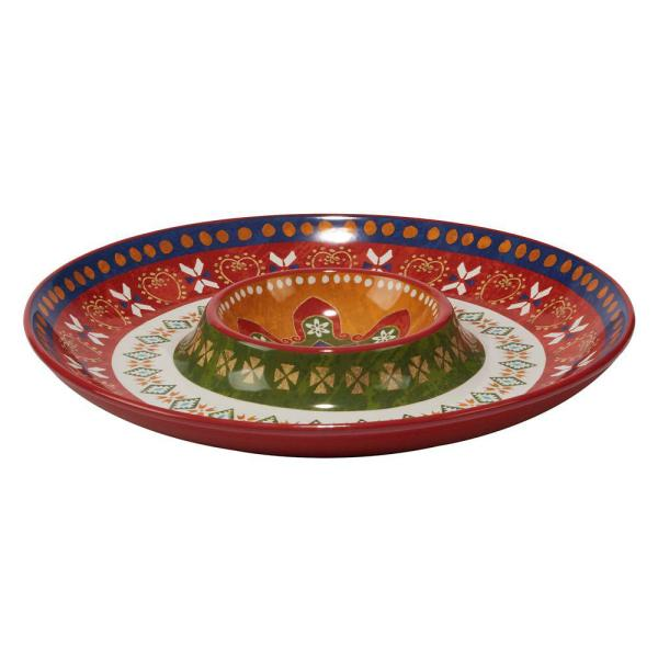 Certified International Monterrey 13.5 in. Multi-Colored Chip and Dip Server