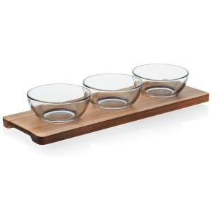 Acaciawood 3-Piece Glass Condiment Dish Set with Wood Serving Board