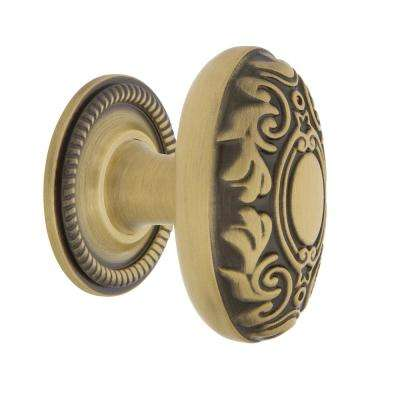 Victorian 1-3/4 in. Antique Brass Cabinet Knob with Rope Rose
