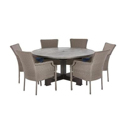 New Grayson Ash Gray 7-Piece Wicker Round Outdoor Dining Set with Olefin Blue Cushions