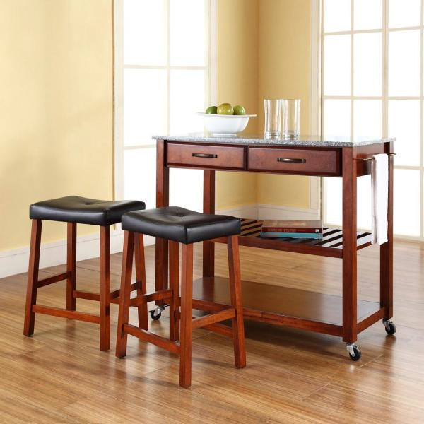 Crosley Cherry Kitchen Cart With Granite Top KF300534CH