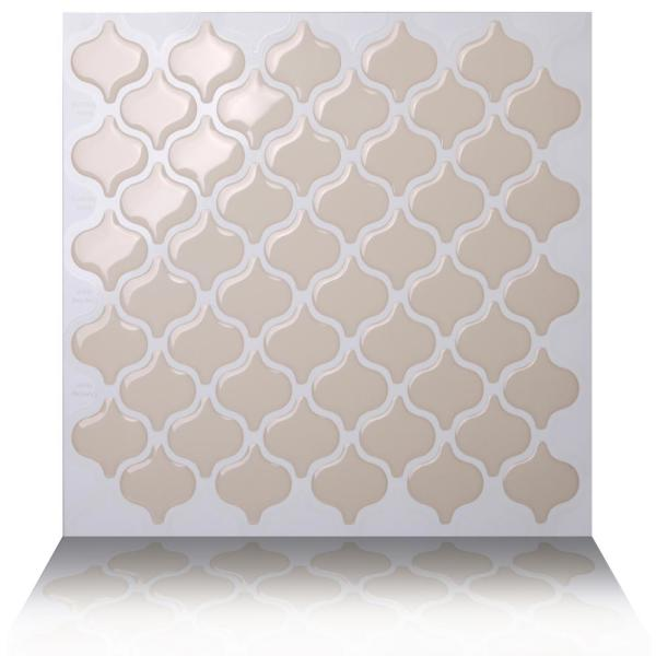 Tic Tac Tiles Damask Dolce 10 in. W x 10 in. H Peel and Stick Self-Adhesive Decorative Mosaic Wall Tile Backsplash (10-Tiles)
