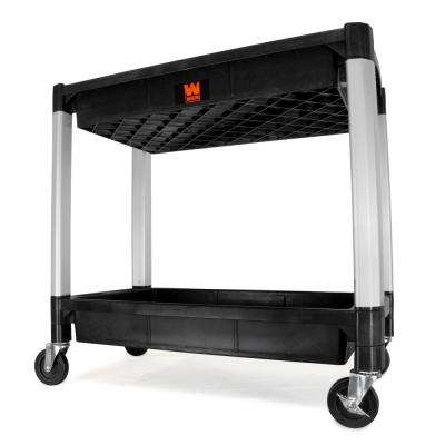 300 lbs. Capacity 32 in. x 18.5 in. Double Decker Service 2-Tray and Utility Cart