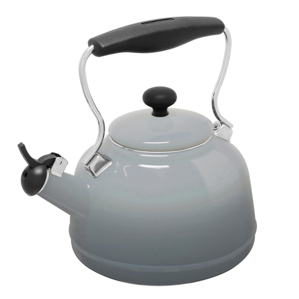 Vintage 6 8 Cups Enamel On Steel Ombre Fade Grey Tea Kettle