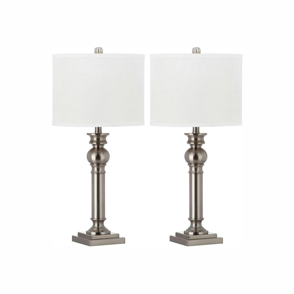 4144c62e2346 Safavieh Argos Column 28.25 in. Nickel Table Lamp with Off-White Shade (Set