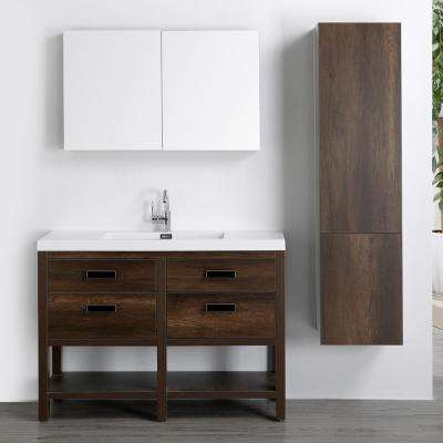 47.2 in. W x 32.5 in. H Bath Vanity in Brown with Resin Vanity Top in White with White Basin and Mirror