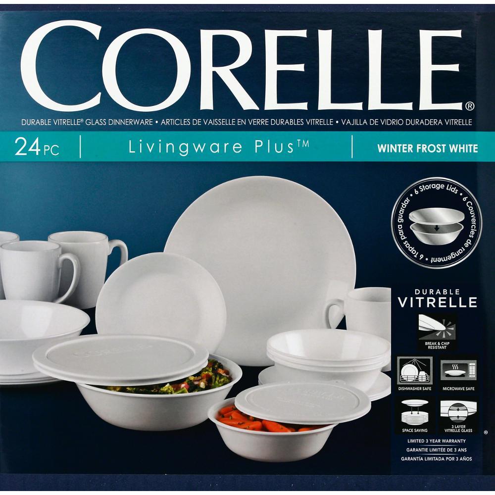 404a15e0f4b5 Internet  301305706. +3. Corelle Classic 24-Piece Winter Frost White Dinnerware  Set