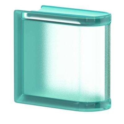 Mint 5.75 in. x 5.75 in. x 3.15 in. Classic Turquoise End Linear Glass Block