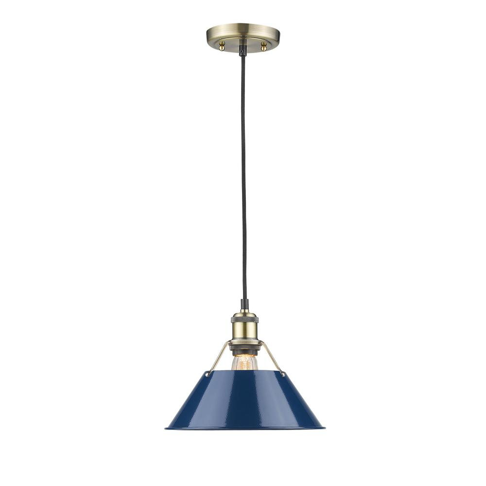 Golden Lighting Orwell AB 1-Light Aged Brass Pendant With