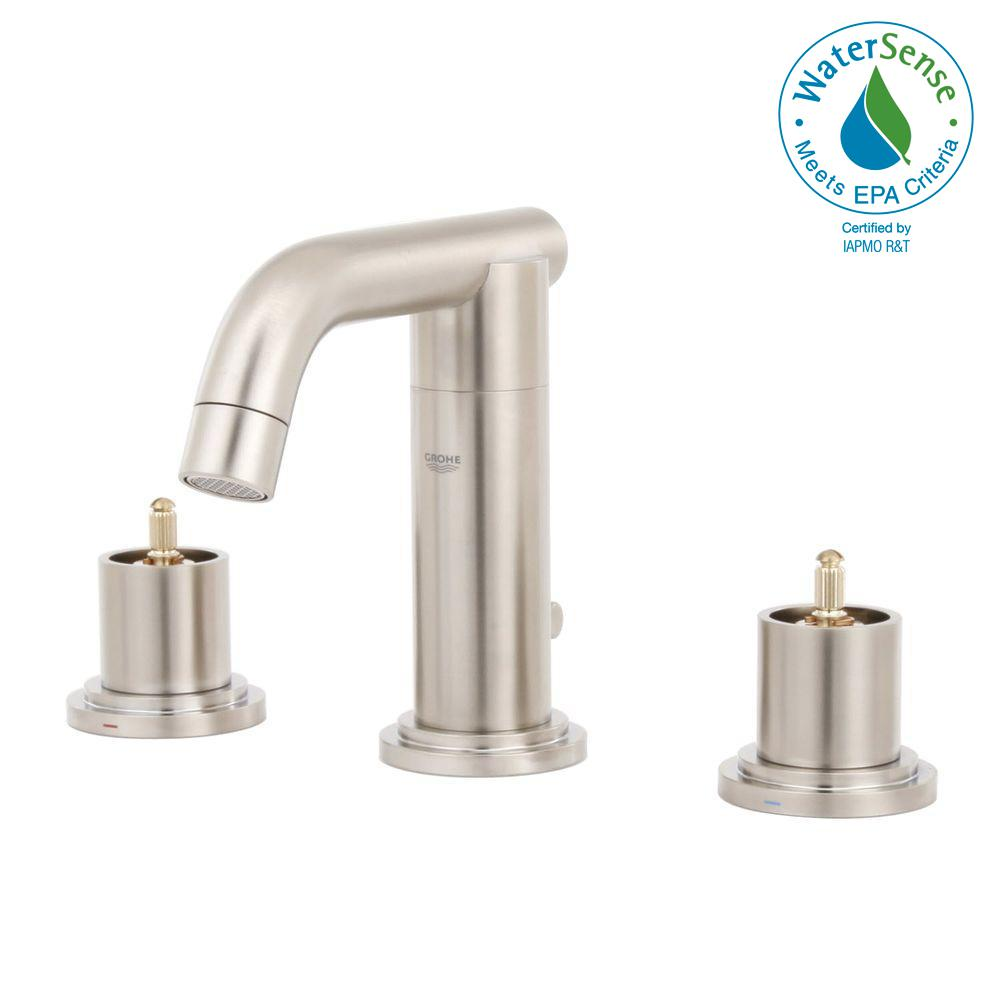 GROHE Atrio 8 In. Widespread 2 Handle Bathroom Faucet In Brushed Nickel  InfinityFinish (