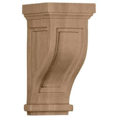 4-3/4 in. x 5 in. x 10 in. Rubberwood Traditional Recessed Corbel