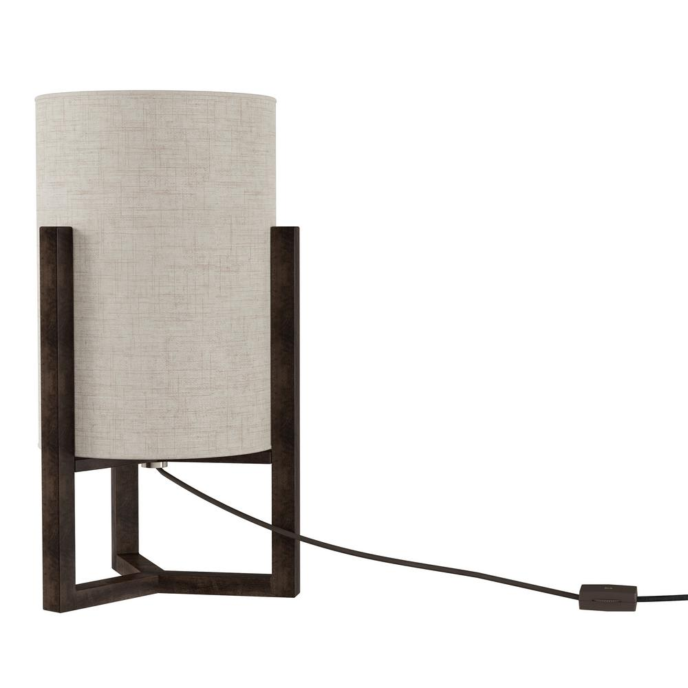 Dark Brown Modern Cylinder Column Led Table Lamp With Wood Base And Natural Linen Shade