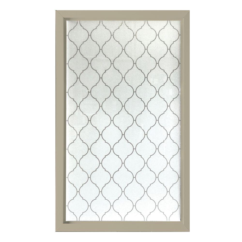 35.5 in. x 59.5 in. Baroque Decorative Glass Picture Vinyl Window - Tan