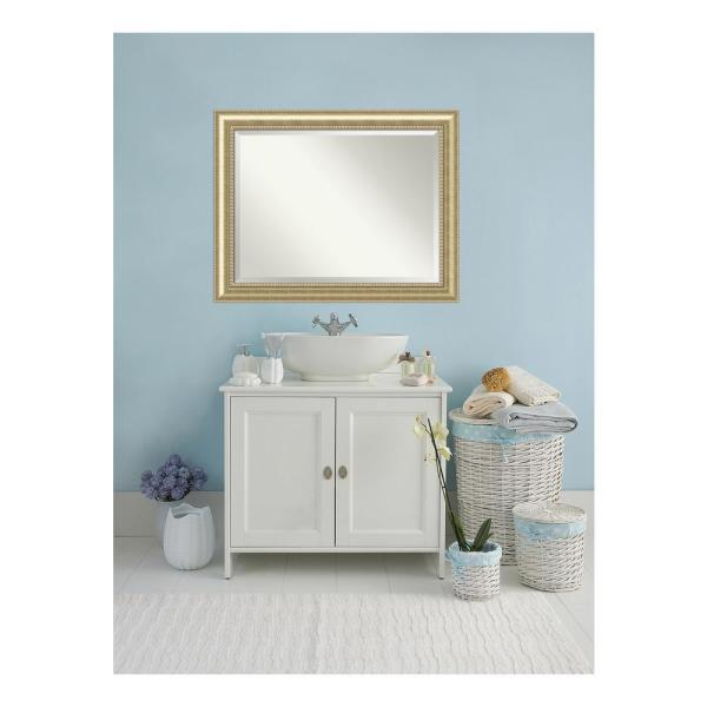Astoria 47 in. W x 37 in. H Framed Rectangular Beveled Edge Bathroom Vanity Mirror in Champagne