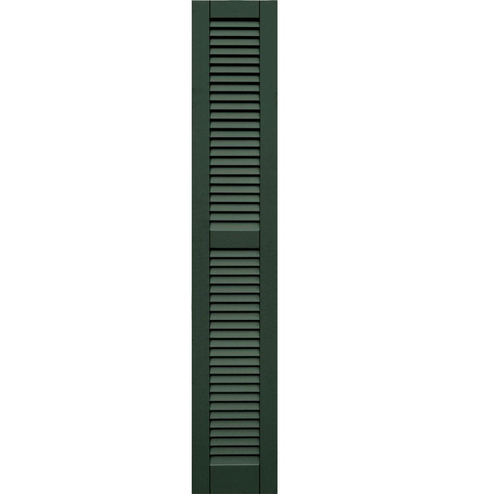Winworks Wood Composite 12 in. x 69 in. Louvered Shutters Pair #656 Rookwood Dark Green