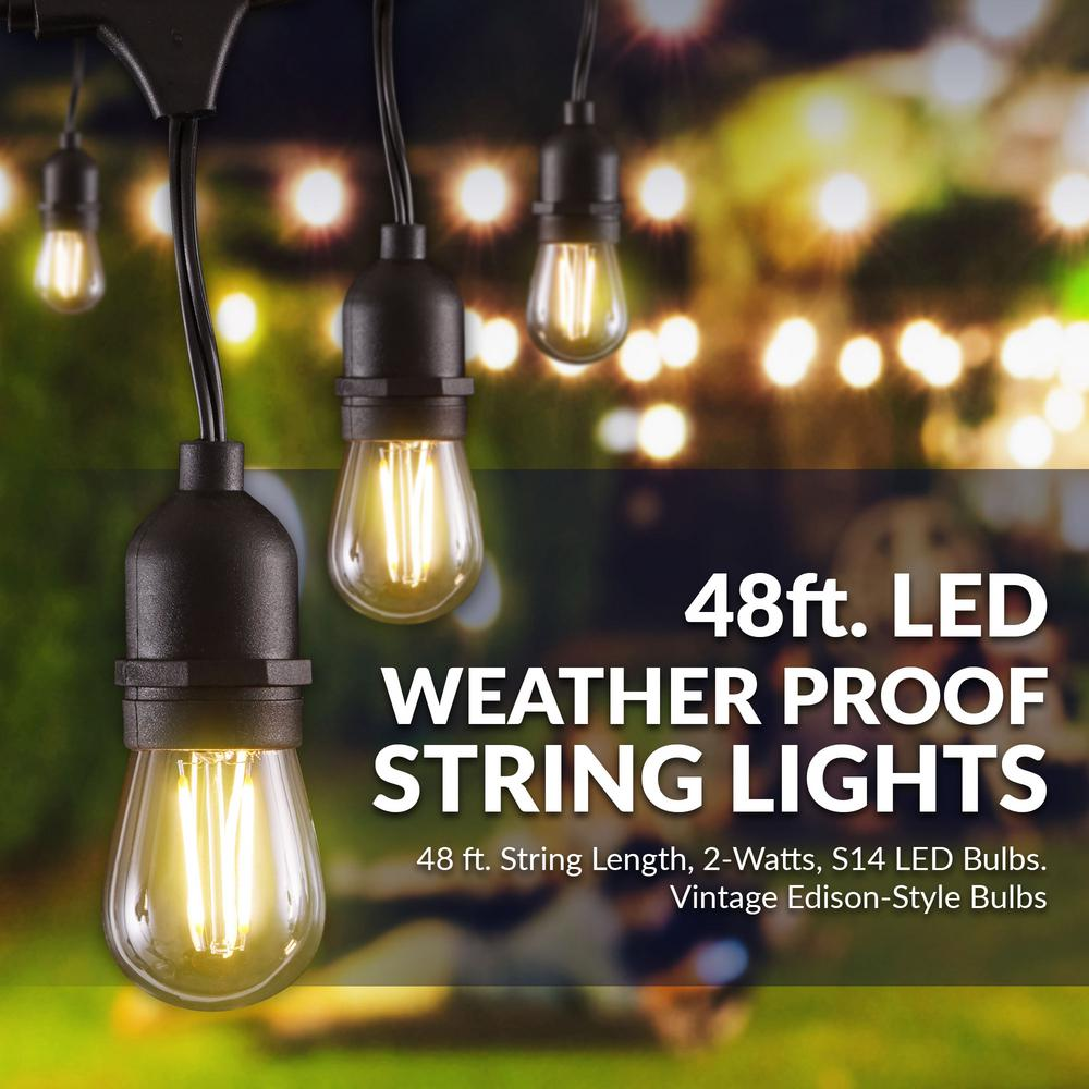 Newhouse Lighting 48 Ft 2 Watt Outdoor Weatherproof Led String Light With S14 Filament Bulbs Included