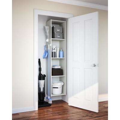 16 in. W White Wood Utility Closet Tower