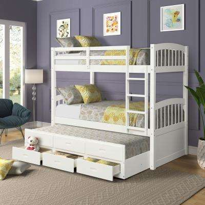 White Twin Over Twin Wood Bunk Bed with Trundle and Drawers