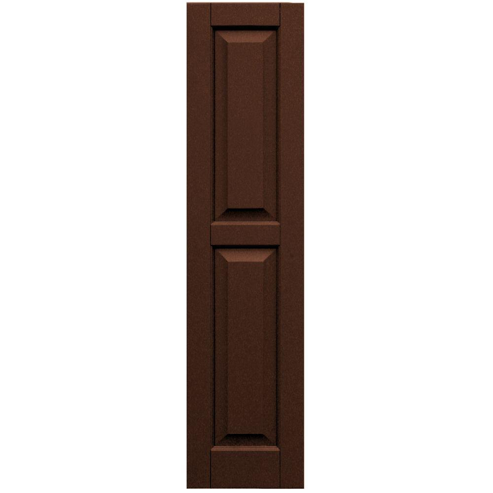 Winworks Wood Composite 12 in. x 50 in. Raised Panel Shutters Pair #635 Federal Brown