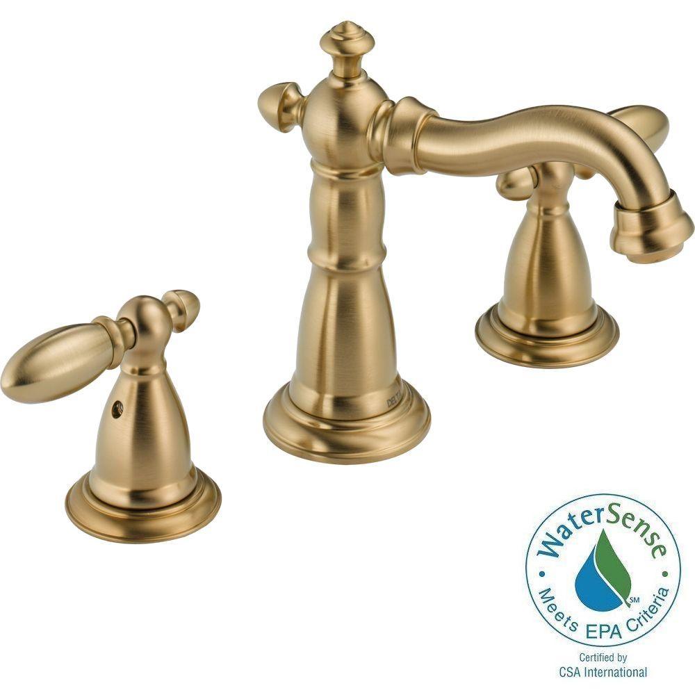 Delta Victorian 8 in. Widespread 2-Handle High-Arc Bathroom Faucet in Champagne Bronze