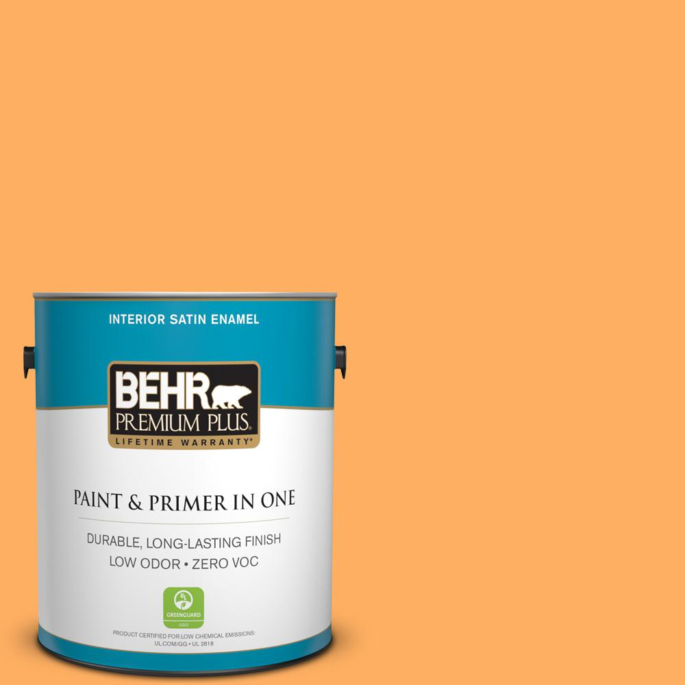 1-gal. #280B-5 Vintage Orange Zero VOC Satin Enamel Interior Paint