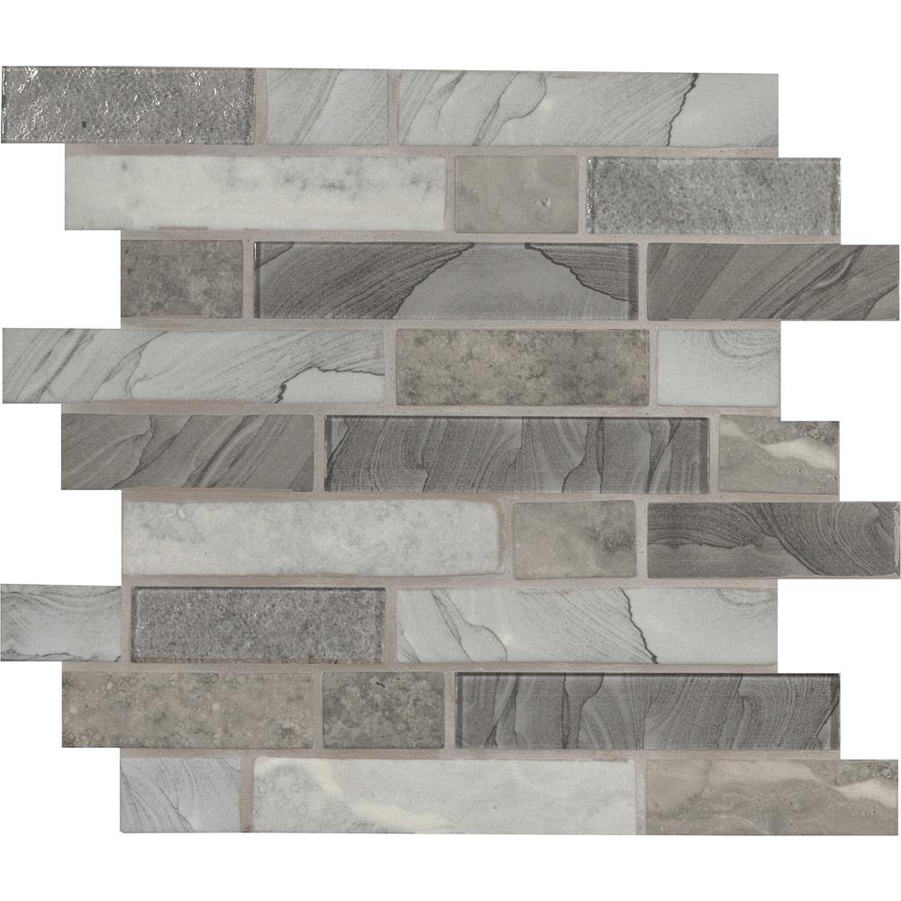 Tarvos Interlocking 11.81 in. x 11.81 in. x 6 mm Glass Mesh-Mounted Mosaic Tile (0.97 sq. ft.)