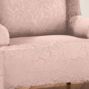 Swell Stretch Blush Floral Wing Chair Slip Cover Pabps2019 Chair Design Images Pabps2019Com