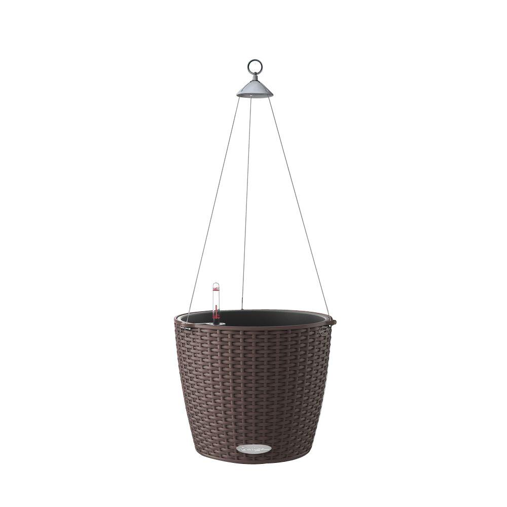 Lechuza Trend Nido Cottage Hanging Basket 9 in. dia. Mocha Self Watering Plastic Planter