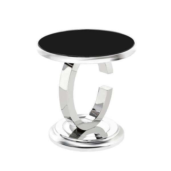 Noble House Colbee Contemporary Silver Stainless Steel Accent Table with Round